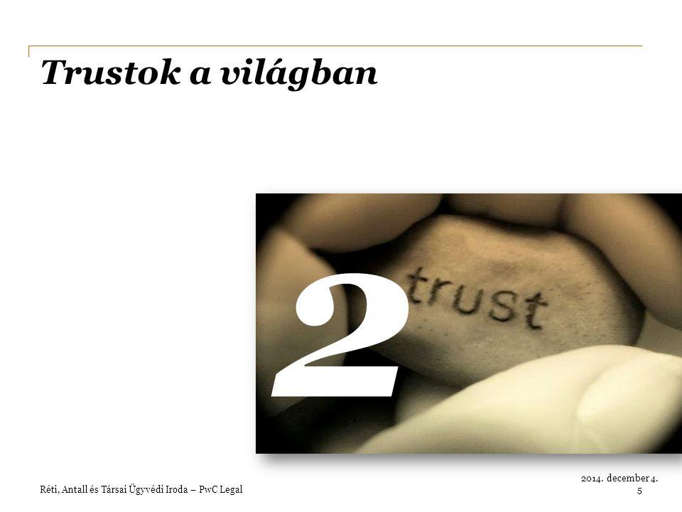 Réti, Antall és Társai Ügyvédi Iroda – PwC Legal 2014. december 4. Trustok a világban 2 5