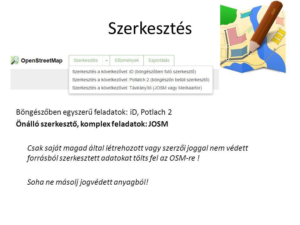 """JOSM/Guide http://wiki.openstreetmap.org/wiki/Hu:JOSM/Guid e 1.JOSM installálása 2.Munkakörnyezet adatok letöltése OSM-ről 3.Geometriai szerkesztés és attribútum hozzárendelés, """"tag-elés 4.Szerkesztések dokumentálása 5.Létrehozott adatok feltöltése OSM-re"""