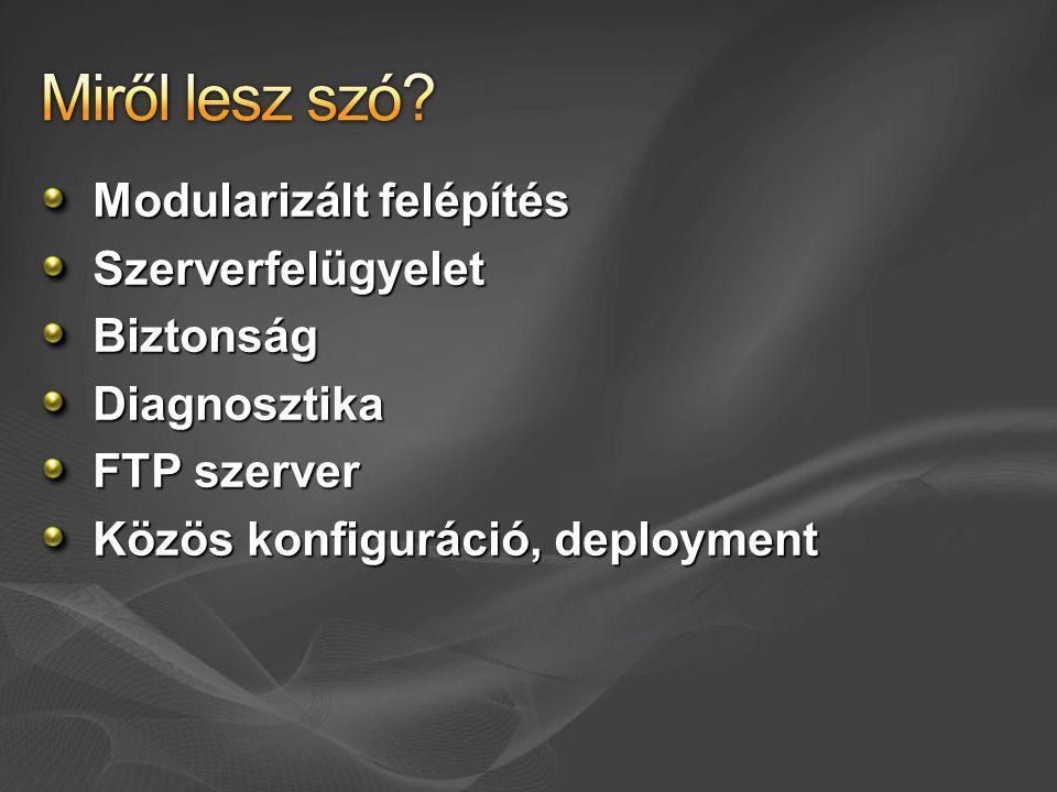 Modularizált felépítés Szerverfelügyelet BiztonságDiagnosztika FTP szerver Közös konfiguráció, deployment