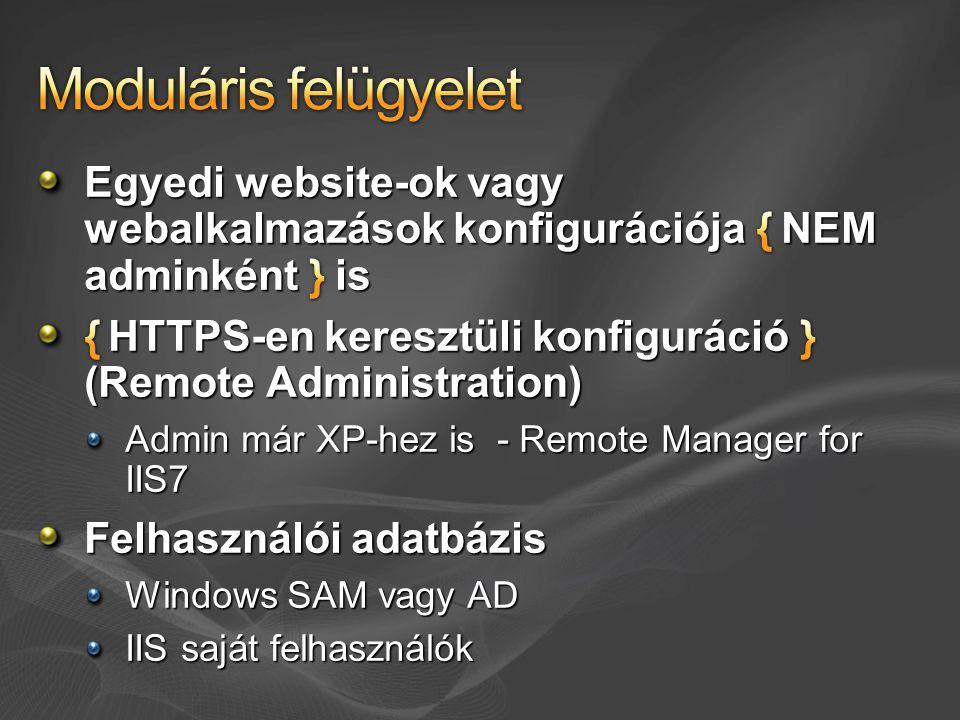 FastCGI PHP és egyéb scriptnyelvekhez 10-20x gyorsabb Azonos felhasználók nevében futó AppPoolok elszigetelése Beépített URLScan-szerű funkció Appcmd pipeline Appcmd list request /xml /time: $>30000 | appcmd list apppool /in /xml | appcmd recycle apppool /in IIS6 scripting kompatibilitás Számos fejlesztői újdonság…