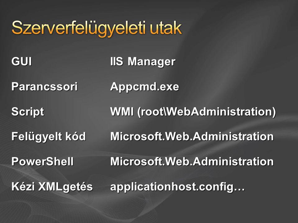 GUIParancssoriScript Felügyelt kód PowerShell Kézi XMLgetés IIS Manager Appcmd.exe WMI (root\WebAdministration) Microsoft.Web.AdministrationMicrosoft.Web.Administrationapplicationhost.config…