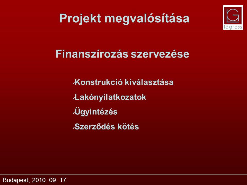 Projekt megvalósítása Budapest, 2010. 09. 17. Finanszírozás szervezése Konstrukció kiválasztása Lakónyilatkozatok Ügyintézés Szerződés kötés