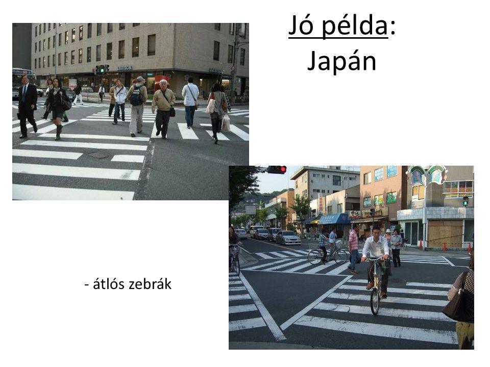 Jó példa: Japán - átlós zebrák