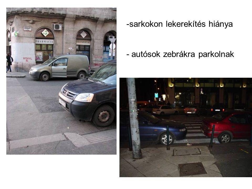 -sarkokon lekerekítés hiánya - autósok zebrákra parkolnak