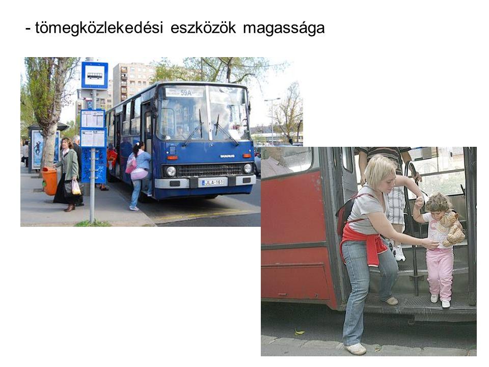- tömegközlekedési eszközök magassága