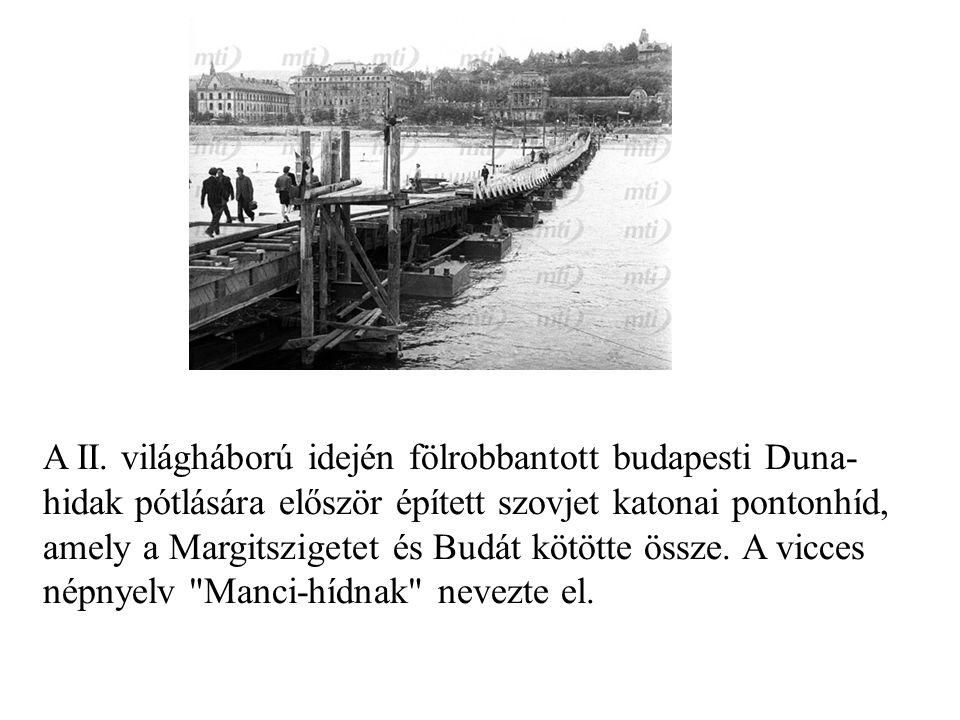 A II. világháború idején fölrobbantott budapesti Duna- hidak pótlására először épített szovjet katonai pontonhíd, amely a Margitszigetet és Budát kötö