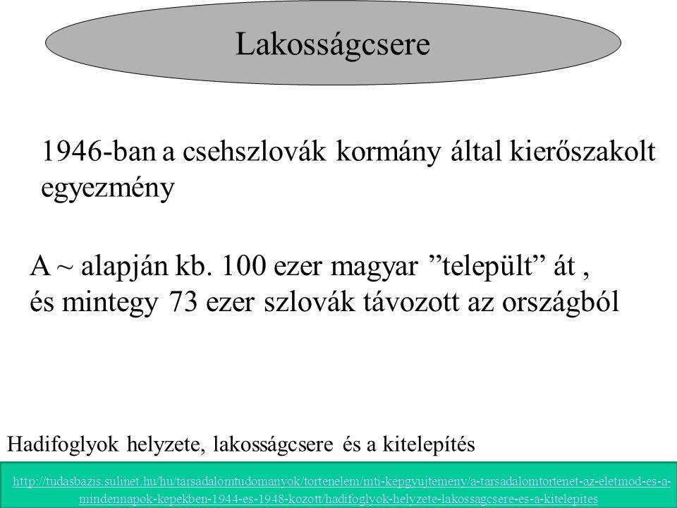 """Lakosságcsere 1946-ban a csehszlovák kormány által kierőszakolt egyezmény A ~ alapján kb. 100 ezer magyar """"települt"""" át, és mintegy 73 ezer szlovák tá"""