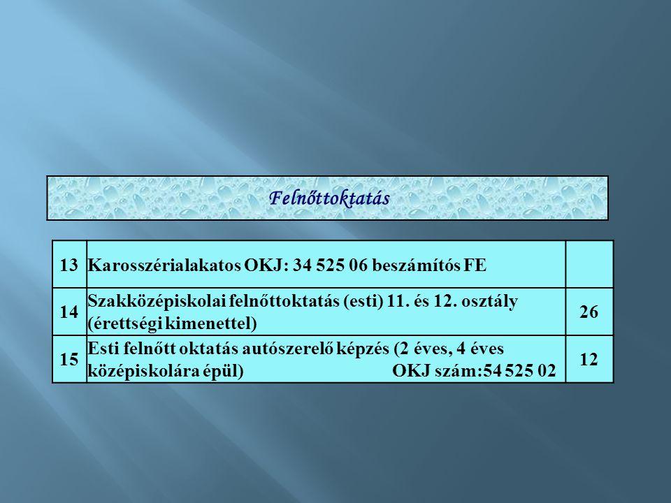 13Karosszérialakatos OKJ: 34 525 06 beszámítós FE 14 Szakközépiskolai felnőttoktatás (esti) 11. és 12. osztály (érettségi kimenettel) 26 15 Esti felnő