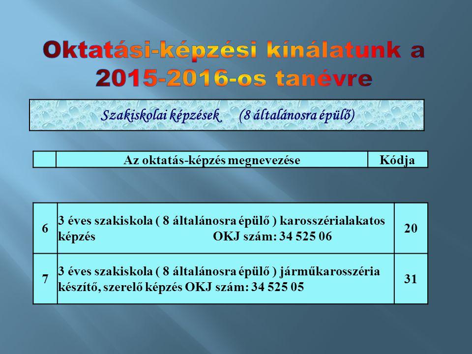 Az oktatás-képzés megnevezéseKódja 6 3 éves szakiskola ( 8 általánosra épülő ) karosszérialakatos képzés OKJ szám: 34 525 06 20 7 3 éves szakiskola (