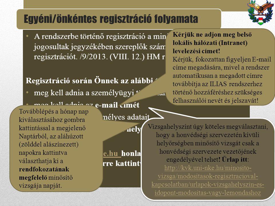 A rendszerbe történő regisztráció a minősítő vizsgára jogosultak jegyzékében szereplők számára teszi lehetővé a regisztrációt. /9/2013. (VIII. 12.) HM
