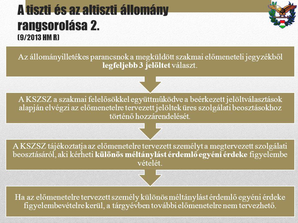 A tiszti és az altiszti állomány rangsorolása 2. (9/2013 HM R) Ha az előmenetelre tervezett személy különös méltánylást érdemlő egyéni érdeke figyelem