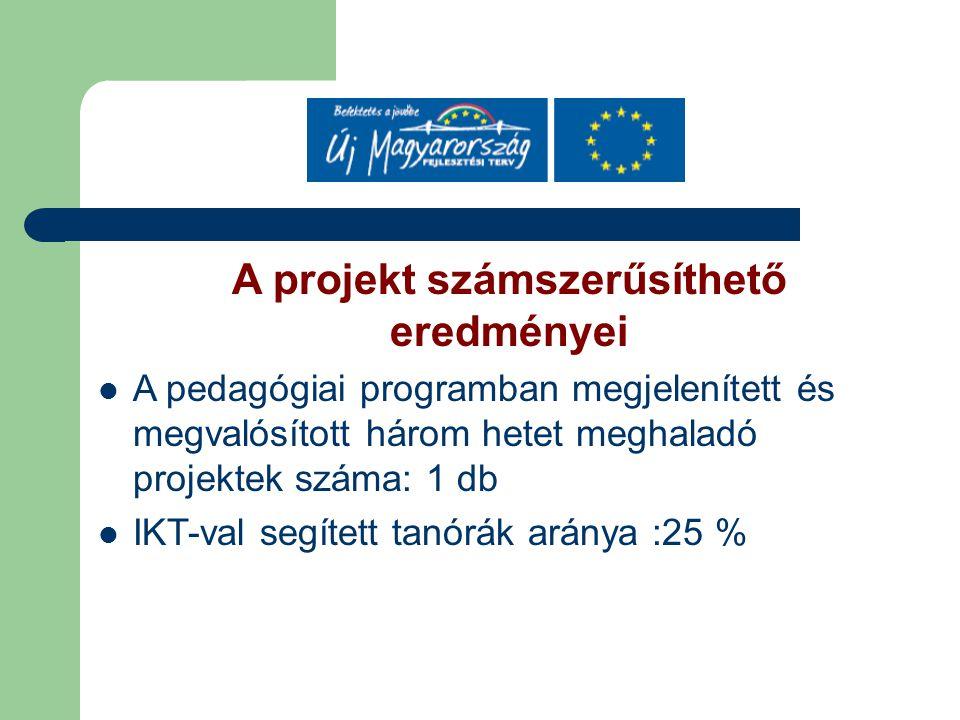A projekt számszerűsíthető eredményei A pedagógiai programban megjelenített és megvalósított három hetet meghaladó projektek száma: 1 db IKT-val segített tanórák aránya :25 %
