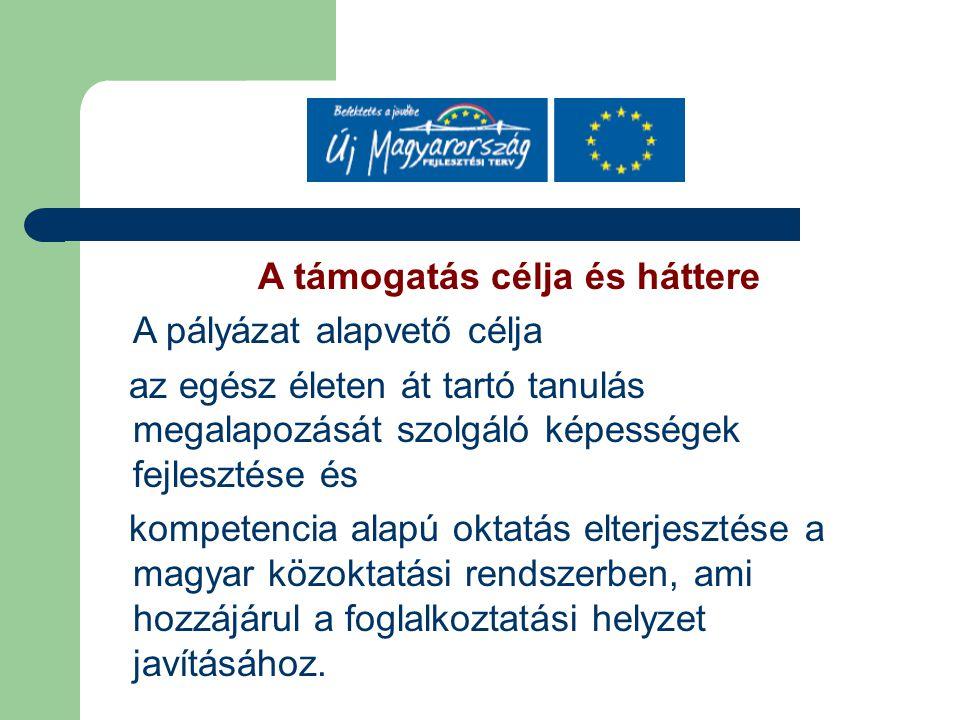 A támogatás célja és háttere A pályázat alapvető célja az egész életen át tartó tanulás megalapozását szolgáló képességek fejlesztése és kompetencia alapú oktatás elterjesztése a magyar közoktatási rendszerben, ami hozzájárul a foglalkoztatási helyzet javításához.