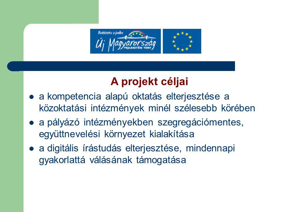 A projekt céljai a kompetencia alapú oktatás elterjesztése a közoktatási intézmények minél szélesebb körében a pályázó intézményekben szegregációmente