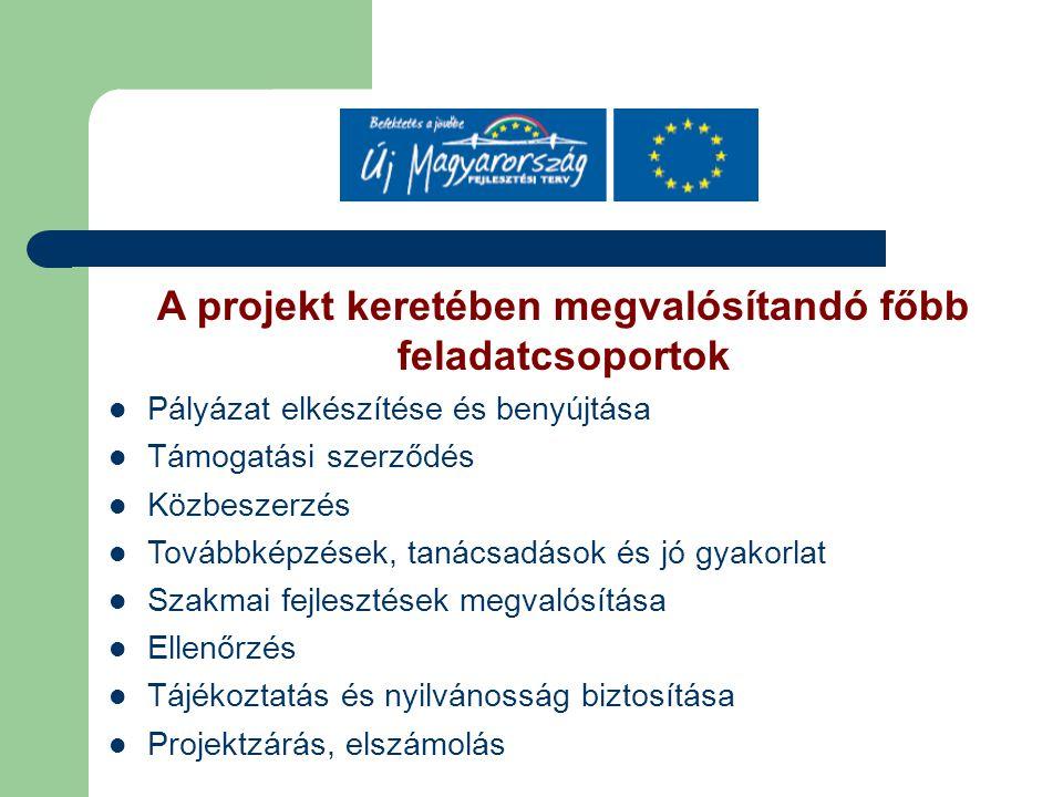 A projekt keretében megvalósítandó főbb feladatcsoportok Pályázat elkészítése és benyújtása Támogatási szerződés Közbeszerzés Továbbképzések, tanácsad