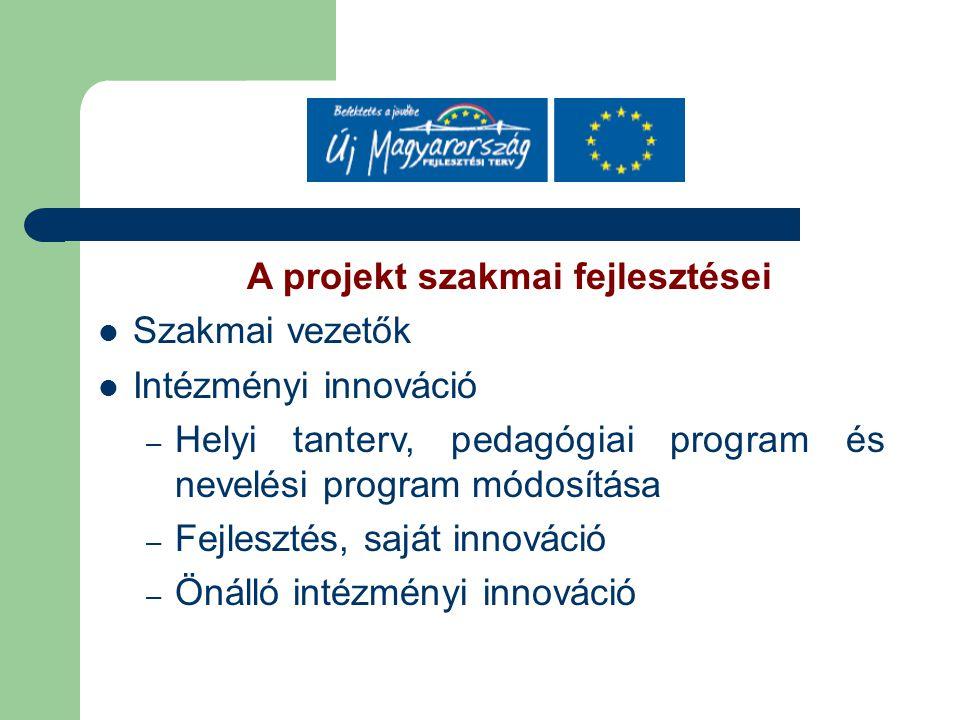 A projekt szakmai fejlesztései Szakmai vezetők Intézményi innováció – Helyi tanterv, pedagógiai program és nevelési program módosítása – Fejlesztés, saját innováció – Önálló intézményi innováció