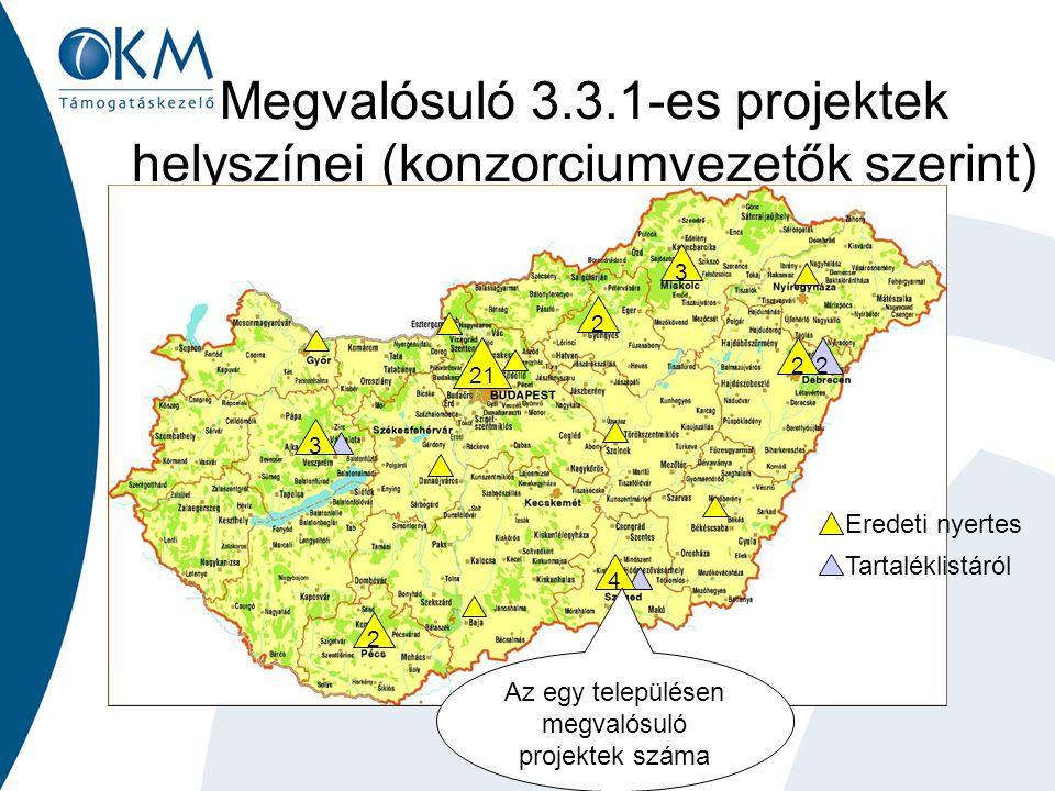 Megvalósuló 3.3.1-es projektek helyszínei (konzorciumvezetők szerint) 21 3 2 2 22 3 4 Az egy településen megvalósuló projektek száma Eredeti nyertes T