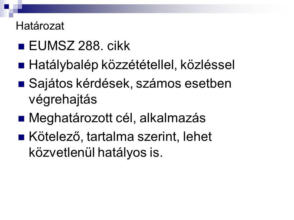 Határozat EUMSZ 288.
