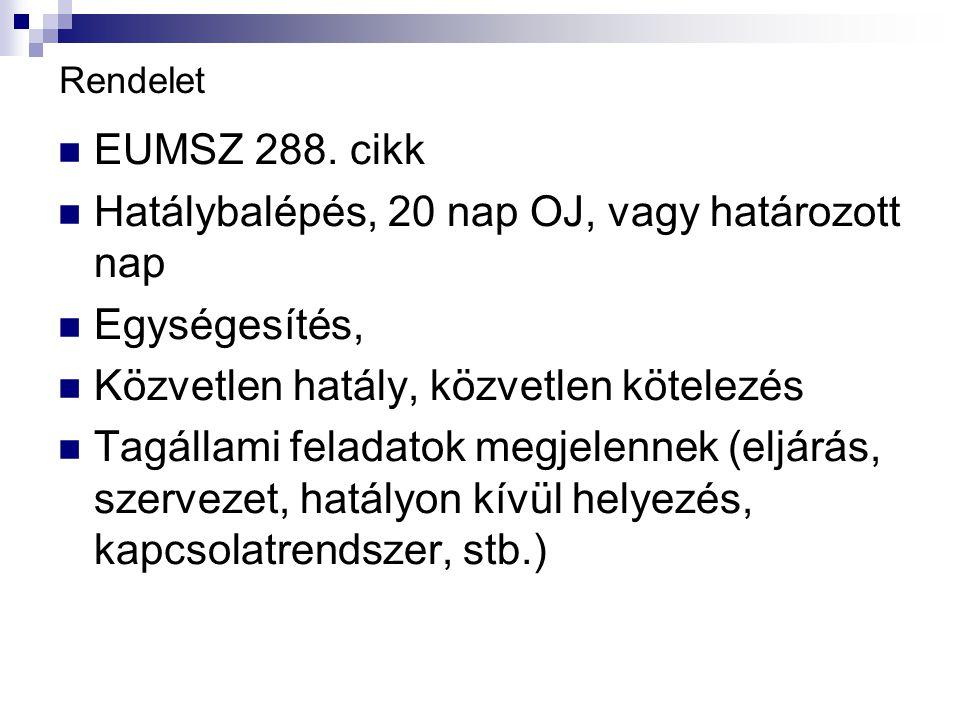 Rendelet EUMSZ 288.