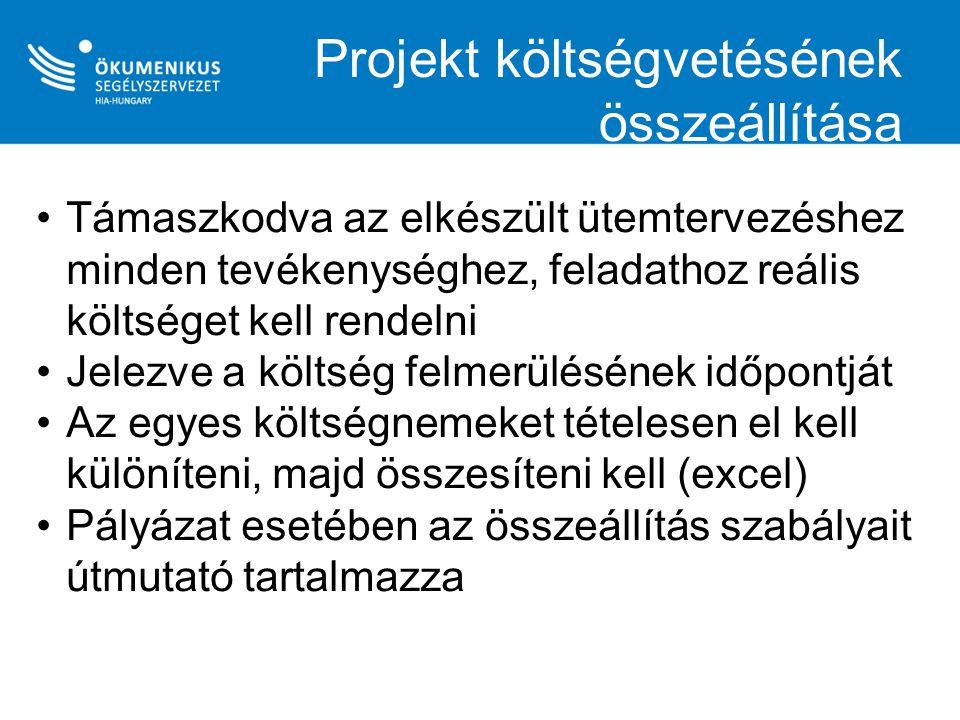 Projekt költségvetésének összeállítása Támaszkodva az elkészült ütemtervezéshez minden tevékenységhez, feladathoz reális költséget kell rendelni Jelez