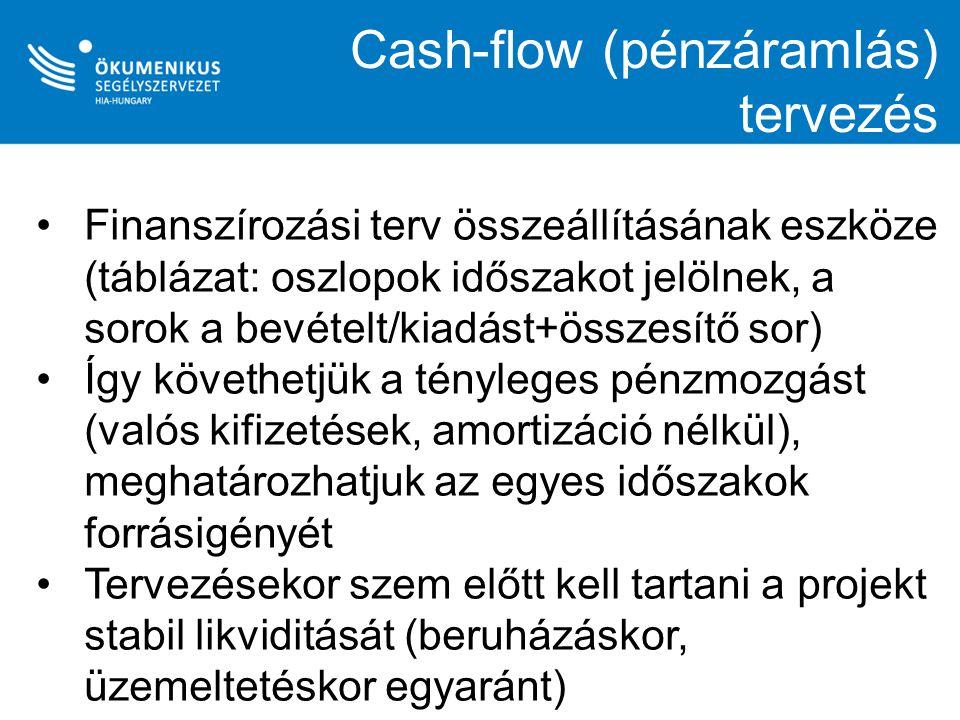 Cash-flow (pénzáramlás) tervezés Finanszírozási terv összeállításának eszköze (táblázat: oszlopok időszakot jelölnek, a sorok a bevételt/kiadást+össze