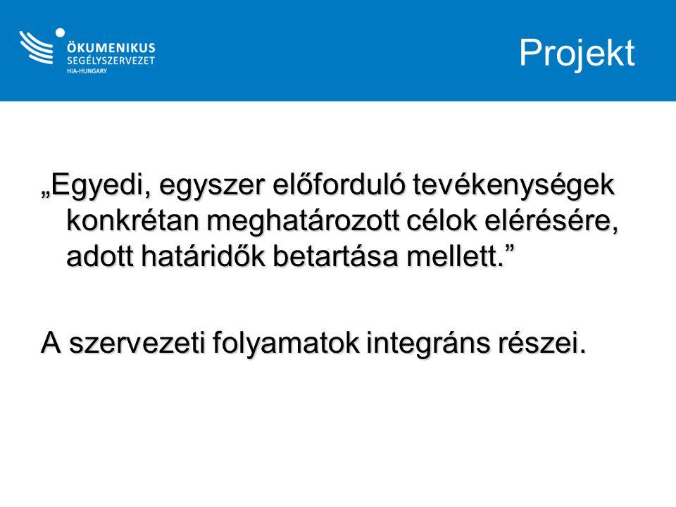 Logframe a projektterv váza Projekt eszköz- cél struktúra IndikátorokEllenőrzési eszközök (indikátorok forrása) Feltételezések, kockázatok Átfogó cél: amivel a projekt hozzájárul a program célkitűzéseihez Hatásindikátor Mivel mérjük az átfogó cél megvalósulását.
