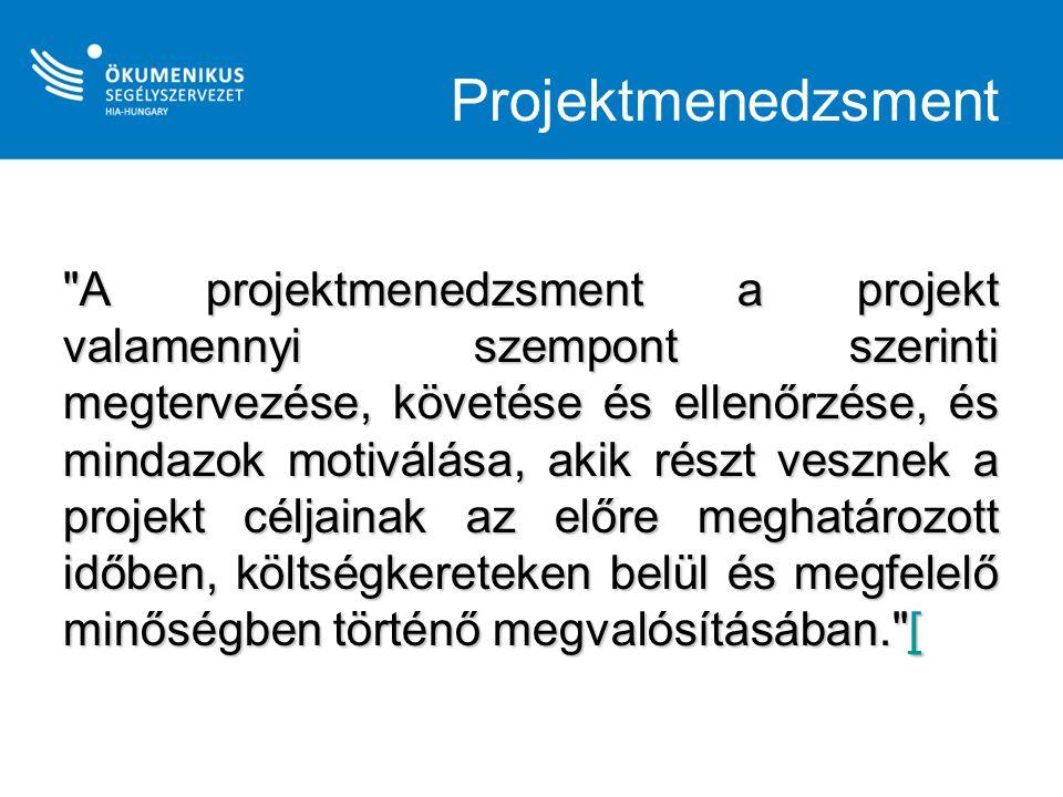 Projektciklusok Helyzetelem -zés (problémák azonosítása) Identifikáció (szükségle- tek & célok ) Kidolgozás és finanszíro- zás Megvalósítás (végrehajtás, monitoring) Projektzárás és értékelés