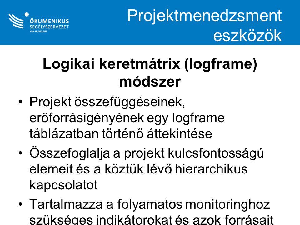Logframe módszer szakaszai Elemzési szakasz Stakeholder- analízis (érdekeltek elemzése) Problémaelemzés Célok megfogalmazása Tervezési szakasz Logikai keretmátrix elkészítése Tevékenységek tervezése Költségvetés készítés Logikai keretmátrix (logframe) módszer szakaszai