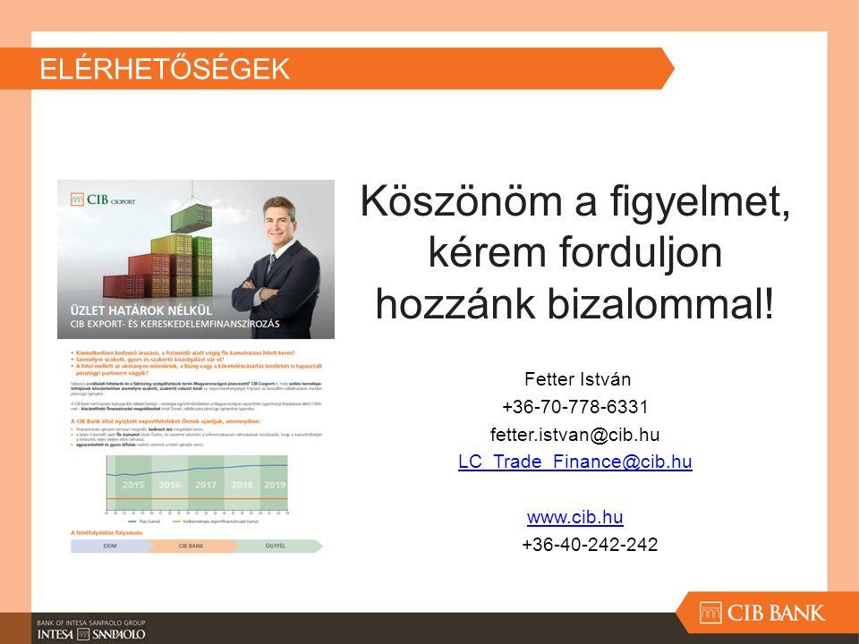 ELÉRHETŐSÉGEK Köszönöm a figyelmet, kérem forduljon hozzánk bizalommal! Fetter István +36-70-778-6331 fetter.istvan@cib.hu LC_Trade_Finance@cib.hu www
