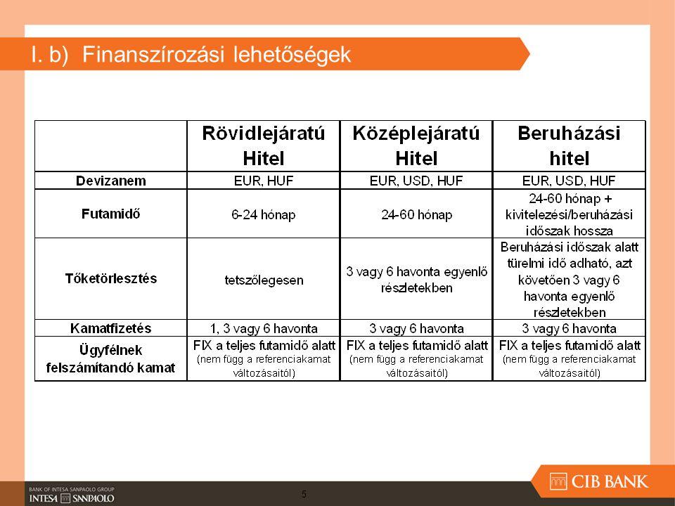 I. b) Finanszírozási lehetőségek 5