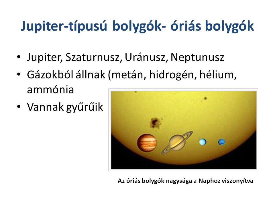 Jupiter-típusú bolygók- óriás bolygók Jupiter, Szaturnusz, Uránusz, Neptunusz Gázokból állnak (metán, hidrogén, hélium, ammónia Vannak gyűrűik Az óriás bolygók nagysága a Naphoz viszonyítva