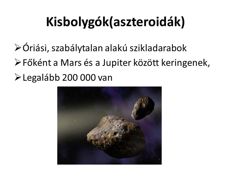 Üstökösök Ritkán és váratlanul tűnnek fel Számuk kevesebb, mint a kisbolygóké Részei: mag, csóva, üstök Üstökös felszíne