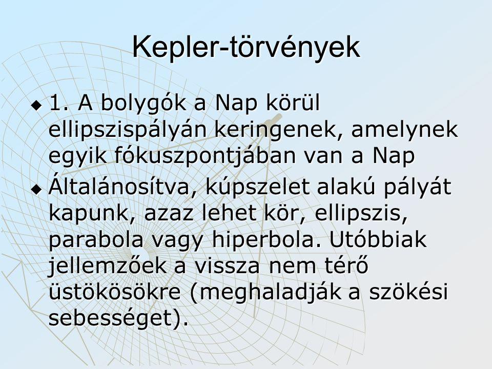 Kepler-törvények  1. A bolygók a Nap körül ellipszispályán keringenek, amelynek egyik fókuszpontjában van a Nap  Általánosítva, kúpszelet alakú pály
