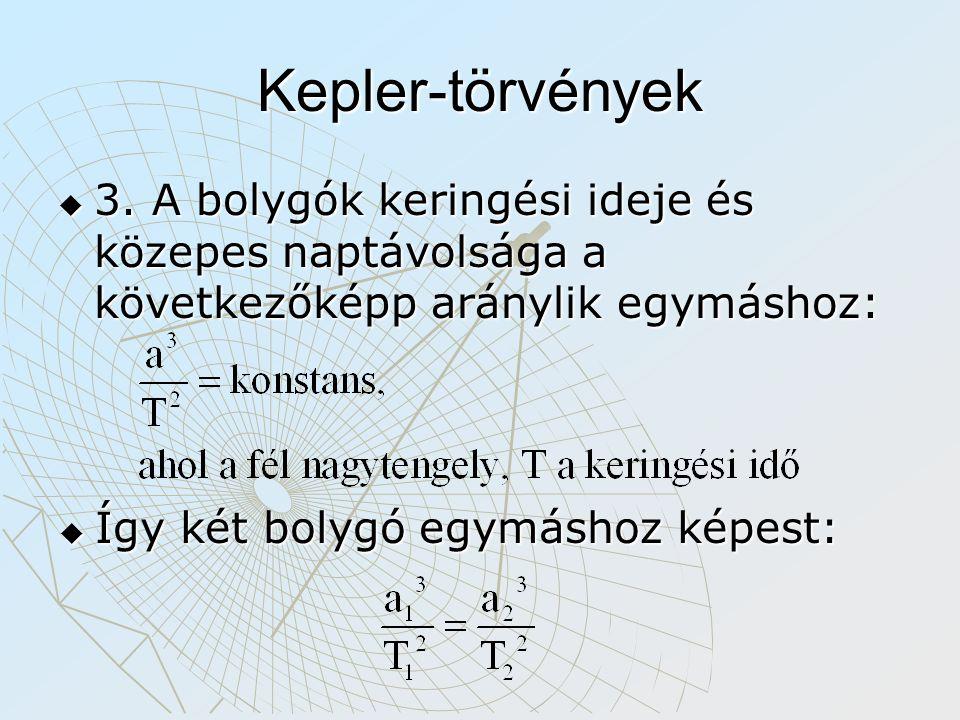 Kepler-törvények  3. A bolygók keringési ideje és közepes naptávolsága a következőképp aránylik egymáshoz:  Így két bolygó egymáshoz képest: