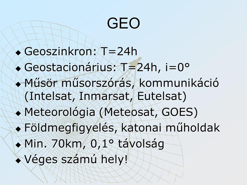 GEO  Geoszinkron: T=24h  Geostacionárius: T=24h, i=0°  Műsör műsorszórás, kommunikáció (Intelsat, Inmarsat, Eutelsat)  Meteorológia (Meteosat, GOE
