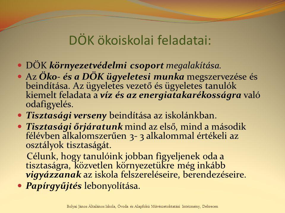 Bolyai János Általános Iskola, Óvoda és Alapfokú Művészetoktatási Intézmény, Debrecen DÖK ökoiskolai feladatai: DÖK környezetvédelmi csoport megalakít