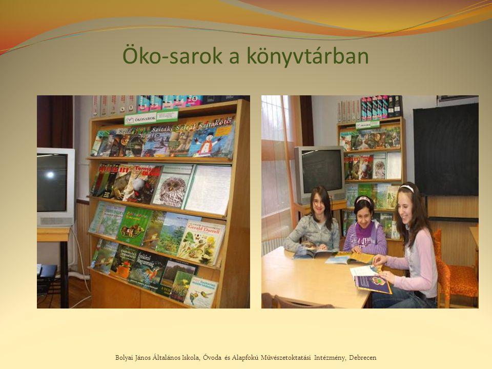 Bolyai János Általános Iskola, Óvoda és Alapfokú Művészetoktatási Intézmény, Debrecen Öko-sarok a könyvtárban