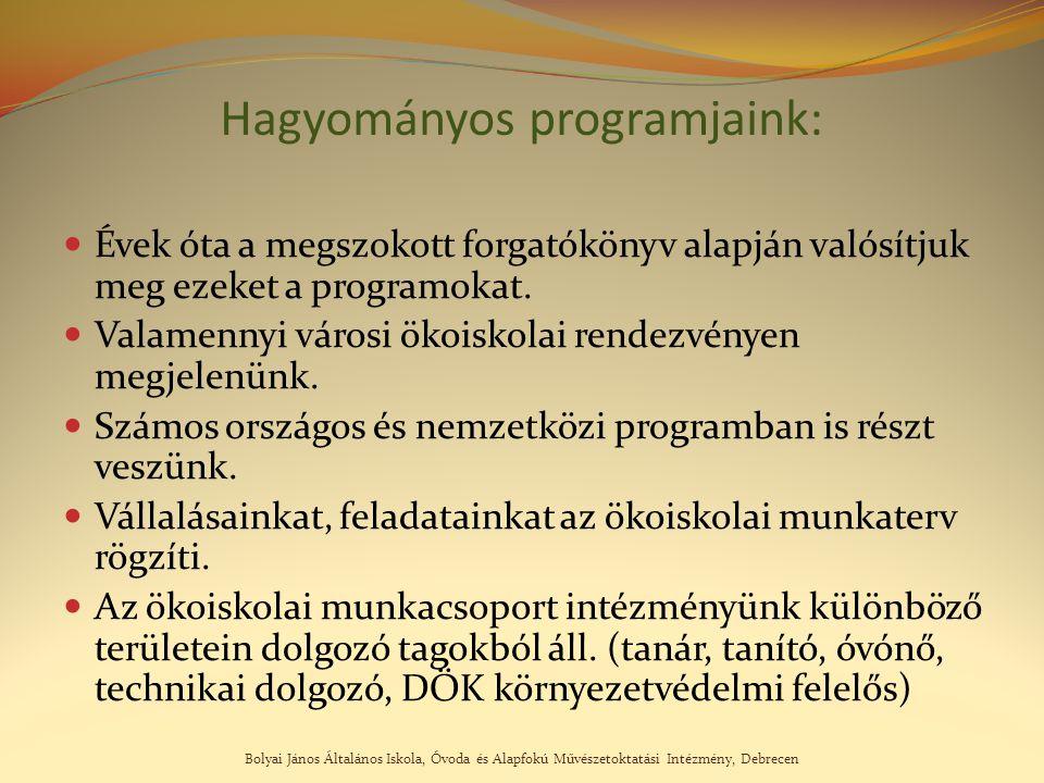 Bolyai János Általános Iskola, Óvoda és Alapfokú Művészetoktatási Intézmény, Debrecen Hagyományos programjaink: Évek óta a megszokott forgatókönyv ala