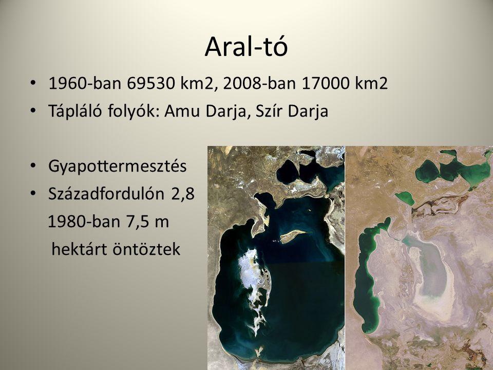 Aral-tó 1960-ban 69530 km2, 2008-ban 17000 km2 Tápláló folyók: Amu Darja, Szír Darja Gyapottermesztés Századfordulón 2,8 1980-ban 7,5 m hektárt öntözt