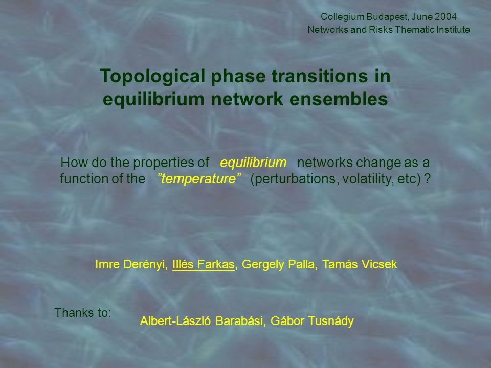 Topological phase transitions in equilibrium network ensembles Collegium Budapest, June 2004 Networks and Risks Thematic Institute How do the properti