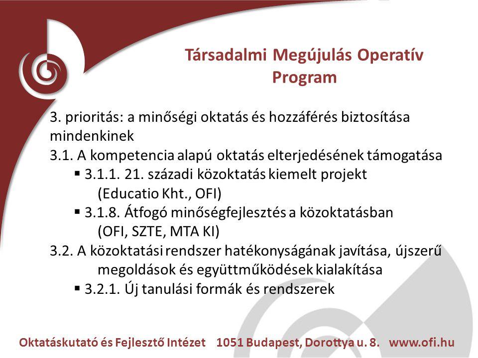 Oktatáskutató és Fejlesztő Intézet 1051 Budapest, Dorottya u. 8. www.ofi.hu Társadalmi Megújulás Operatív Program 3. prioritás: a minőségi oktatás és