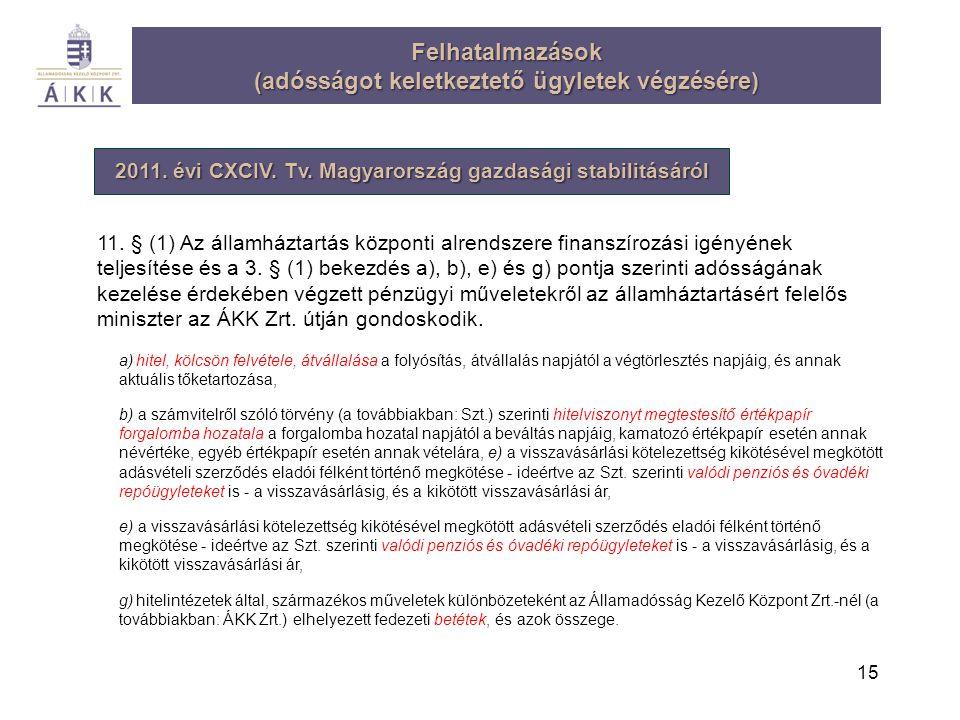15 Felhatalmazások (adósságot keletkeztető ügyletek végzésére) 2011. évi CXCIV. Tv. Magyarország gazdasági stabilitásáról 11. § (1) Az államháztartás