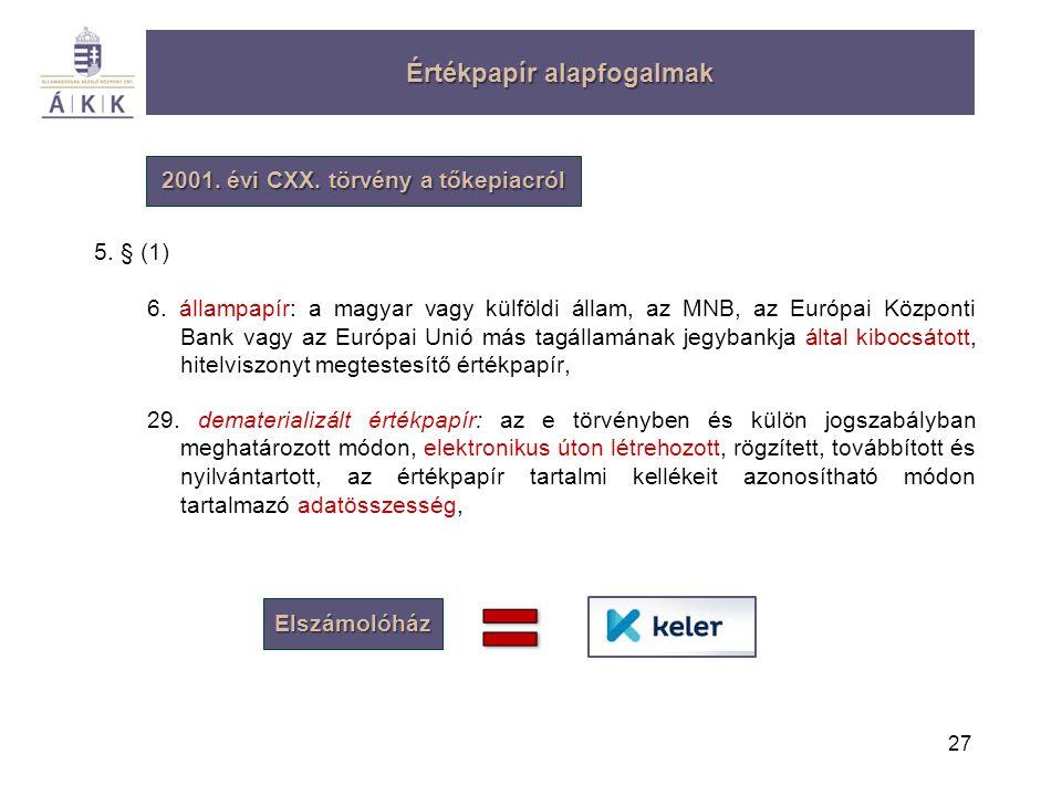 27 Értékpapír alapfogalmak 2001. évi CXX. törvény a tőkepiacról 5. § (1) 6. állampapír: a magyar vagy külföldi állam, az MNB, az Európai Központi Bank