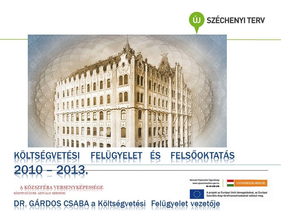 Magyar Államkincstár Költségvetési Felügyelet A felügyelt felsőoktatási intézmények támogatásának alakulása Költségvetési támogatás2010 tény2011 tény 2012 eredeti ei.
