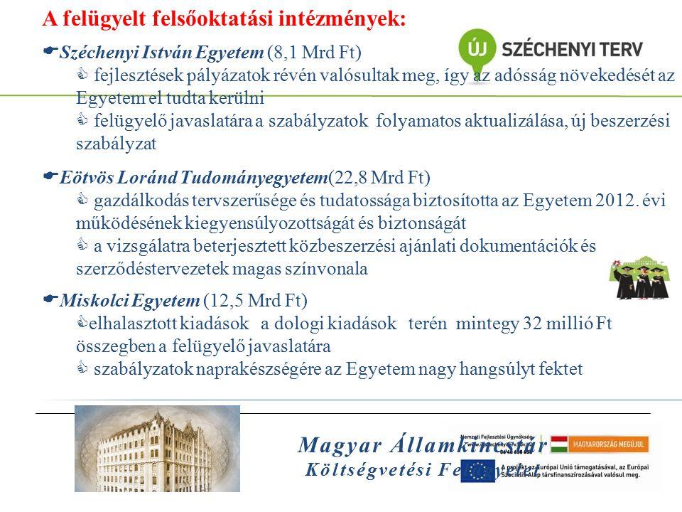 Magyar Államkincstár Költségvetési Felügyelet A felügyelt felsőoktatási intézmények:  Széchenyi István Egyetem (8,1 Mrd Ft)  fejlesztések pályázatok