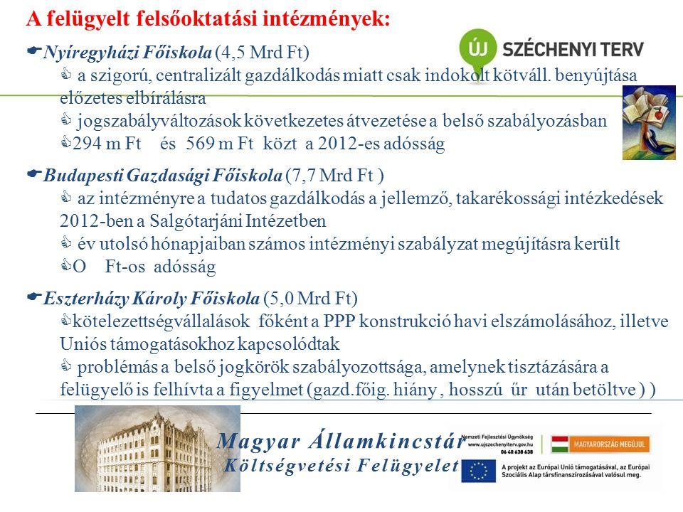 Magyar Államkincstár Költségvetési Felügyelet A felügyelt felsőoktatási intézmények:  Nyíregyházi Főiskola (4,5 Mrd Ft)  a szigorú, centralizált gaz