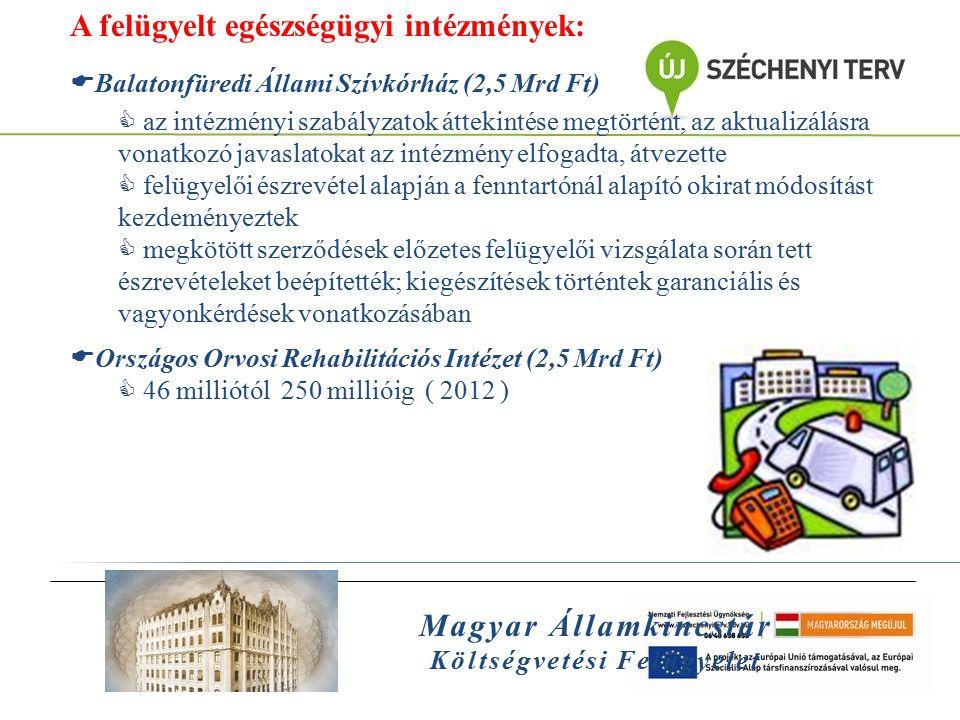 Magyar Államkincstár Költségvetési Felügyelet A felügyelt egészségügyi intézmények:  Balatonfüredi Állami Szívkórház (2,5 Mrd Ft)  az intézményi sza