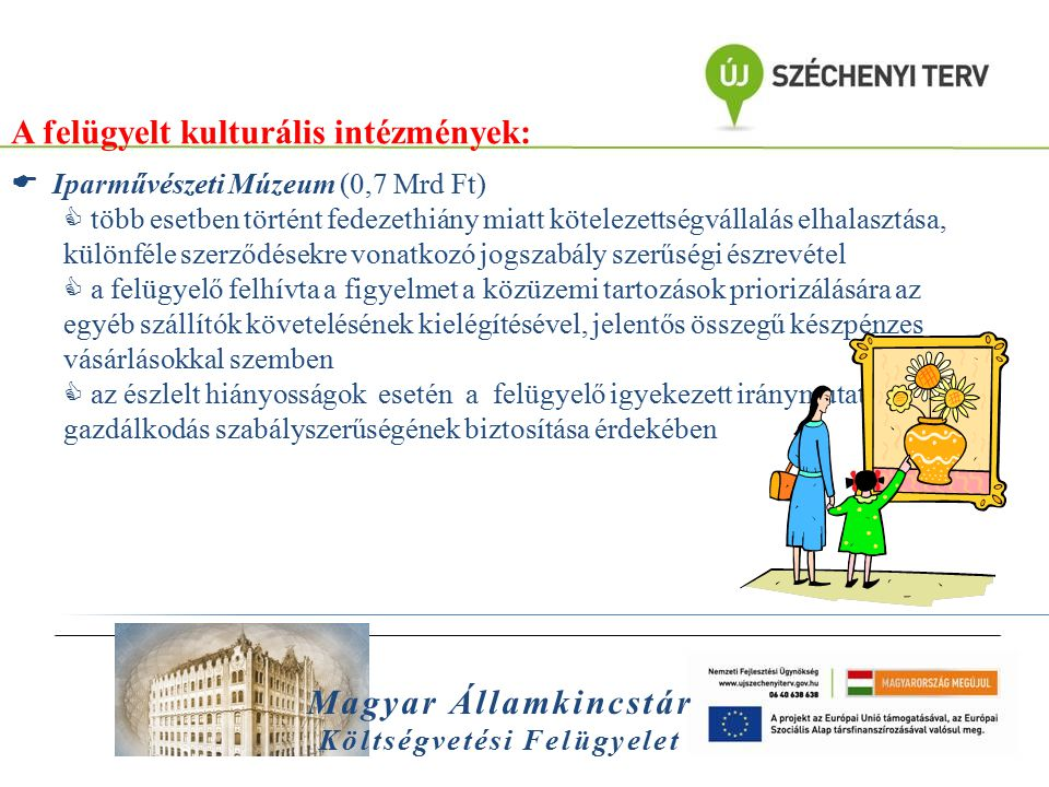 Magyar Államkincstár Költségvetési Felügyelet A felügyelt kulturális intézmények:  Iparművészeti Múzeum (0,7 Mrd Ft)  több esetben történt fedezethi