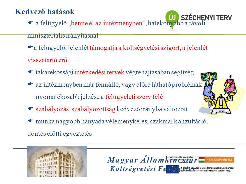 """Magyar Államkincstár Költségvetési Felügyelet Kedvező hatások  a felügyelő """"benne él az intézményben"""", hatékonyabb a távoli miniszteriális irányításn"""