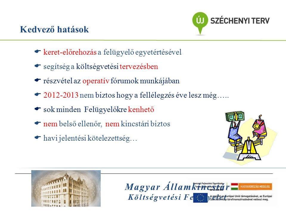 Magyar Államkincstár Költségvetési Felügyelet Kedvező hatások  keret-előrehozás a felügyelő egyetértésével  segítség a költségvetési tervezésben  r